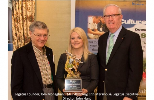 """Defender of the Faith"" Award  Presented to TMLC Attorney Erin Mersino"