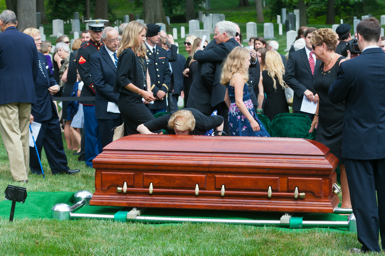 Mary Denton Kissing Admiral Denton Casket